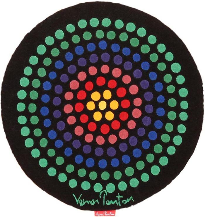 Round modern art rug by artist Verner Panton #49684 by Nazmiyal