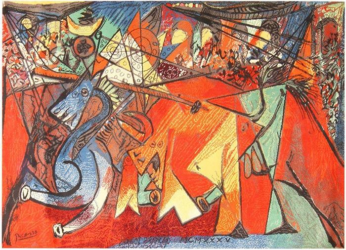 running of the bulls modern art rug by artist Pablo Picasso #47991 Nazmiyal