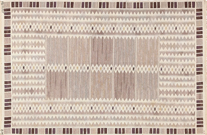 Vintage Salerno Gray Scandinavian Rug By Barbro Nilsson by Nazmiyal