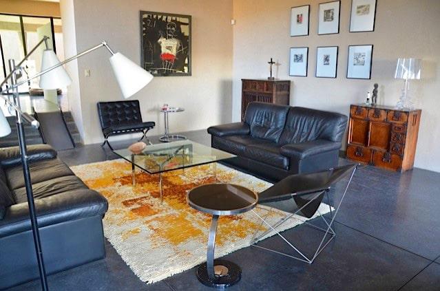 Family Room Interior Design with Vintage Swedish Rya Rug Nazmiyal