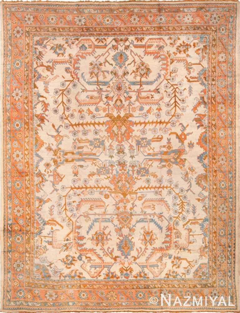 Large Ivory Arts and Crafts Design Antique Turkish Oushak Rug 49672 by nazmiyal
