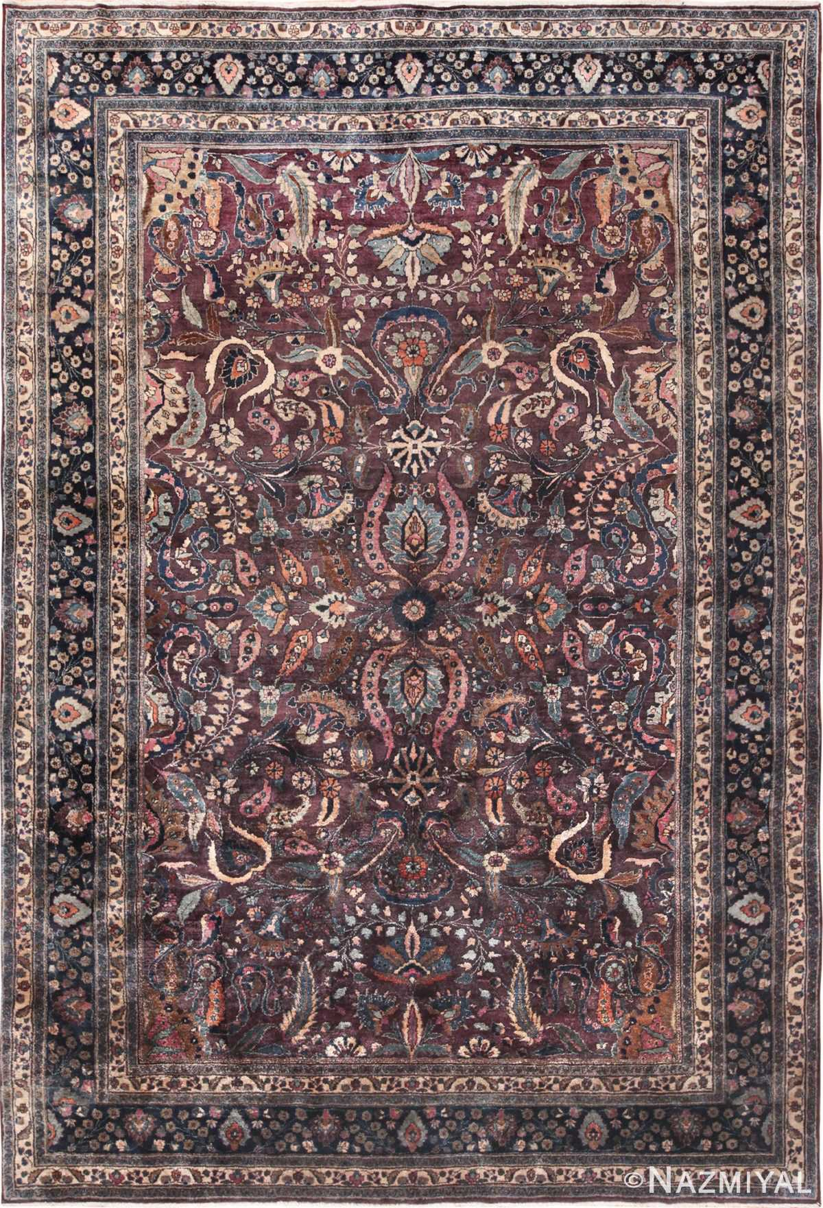 antique purple color persian khorassan rug 49686 Nazmiyal