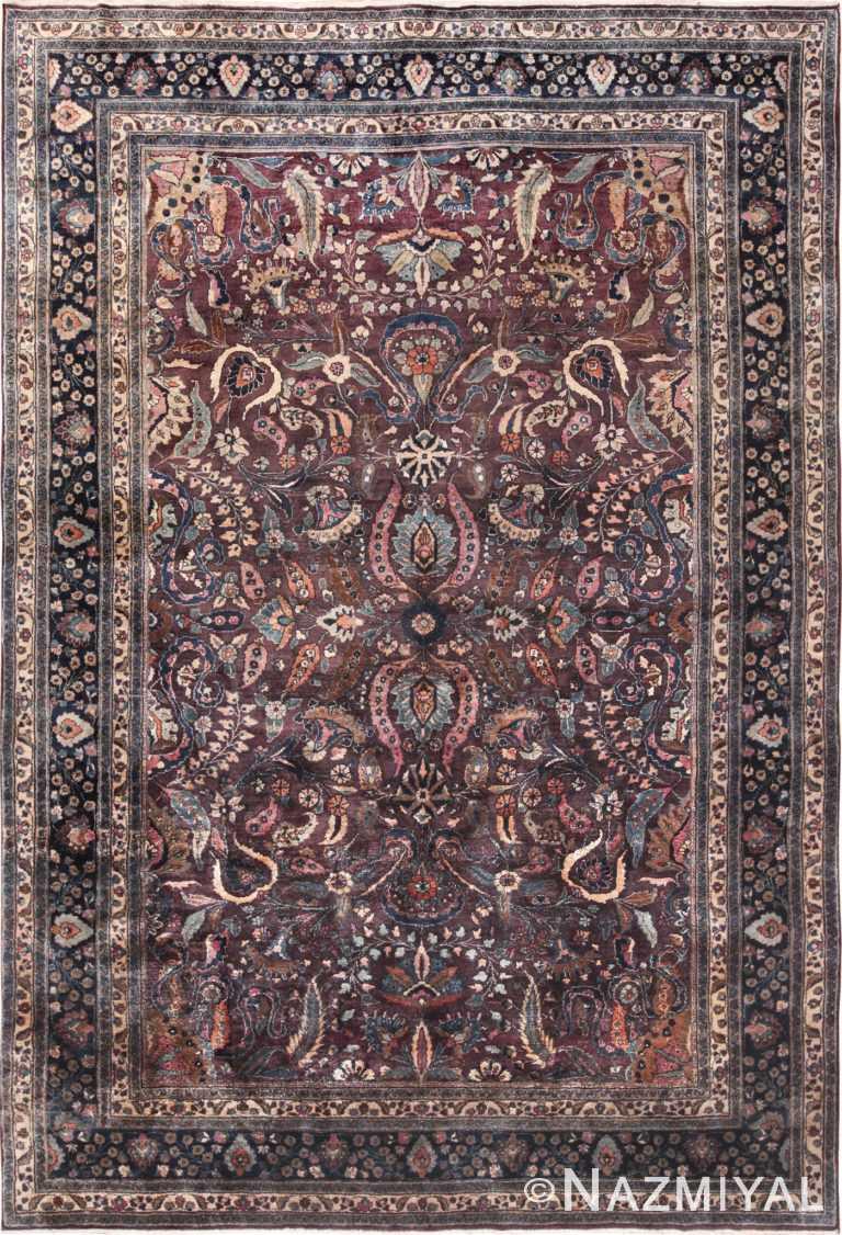 antique purple color persian khorassan rug 49686 Nazmiyal