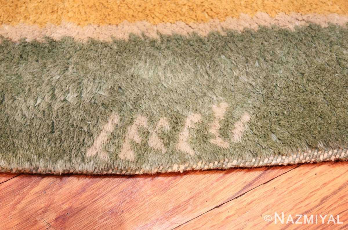 antique round french art deco rug by leleu 49693 signature Nazmiyal