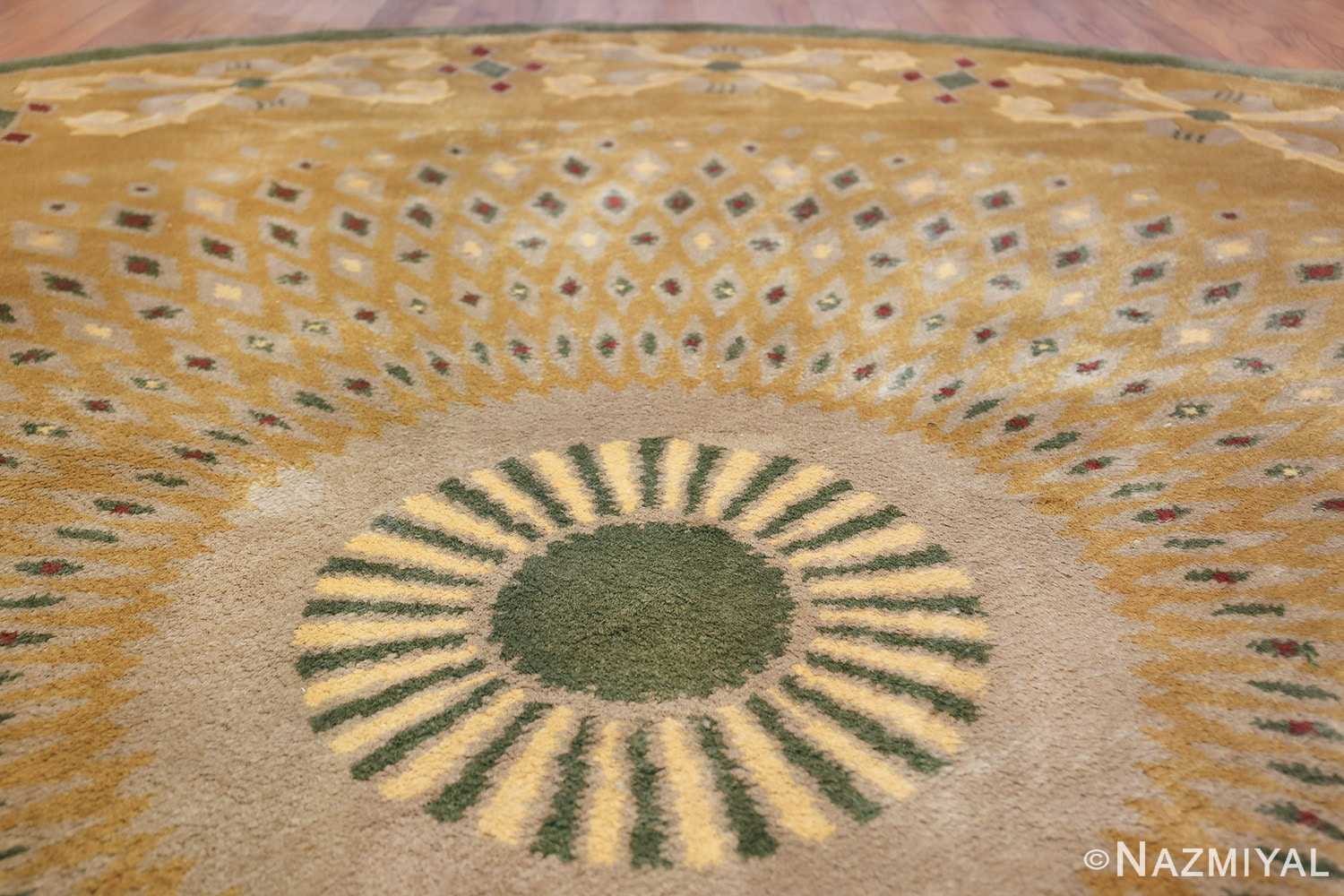 antique round french art deco rug by leleu 49693 top Nazmiyal