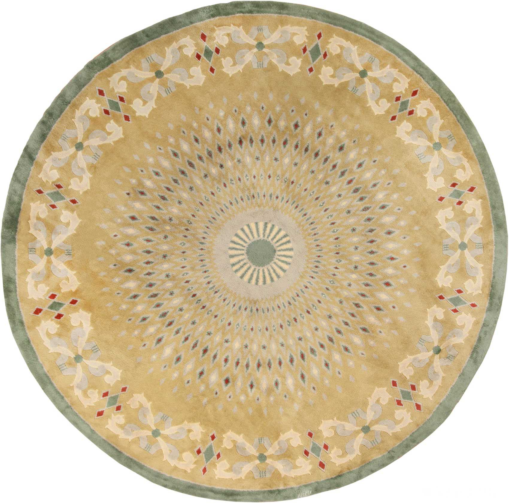 Antique Round French Art Deco Rug by Leleu 49693 Nazmiyal