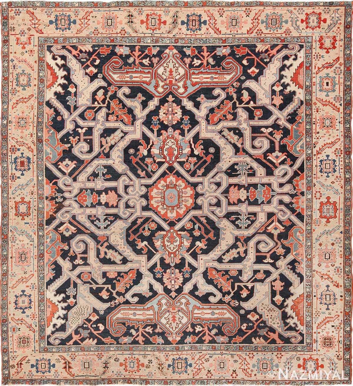 Vintage Persian Rugs: Rare Antique Square Persian Serapi Rug 49659 By Nazmiyal