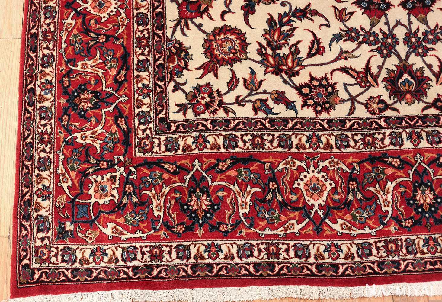 antique wide hallway gallery size persian isfahan rug 60045 corner Nazmiyal