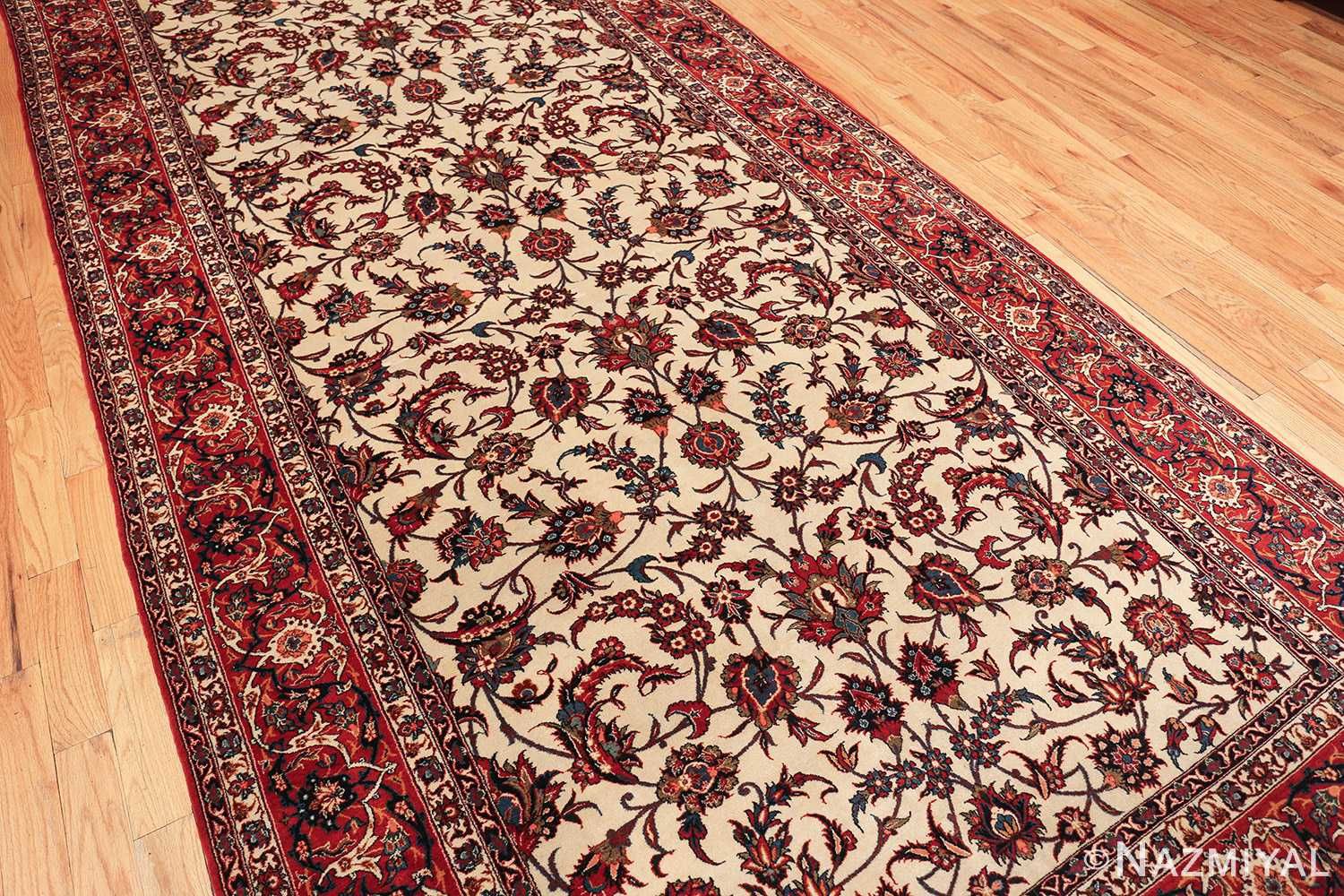 antique wide hallway gallery size persian isfahan rug 60045 field Nazmiyal