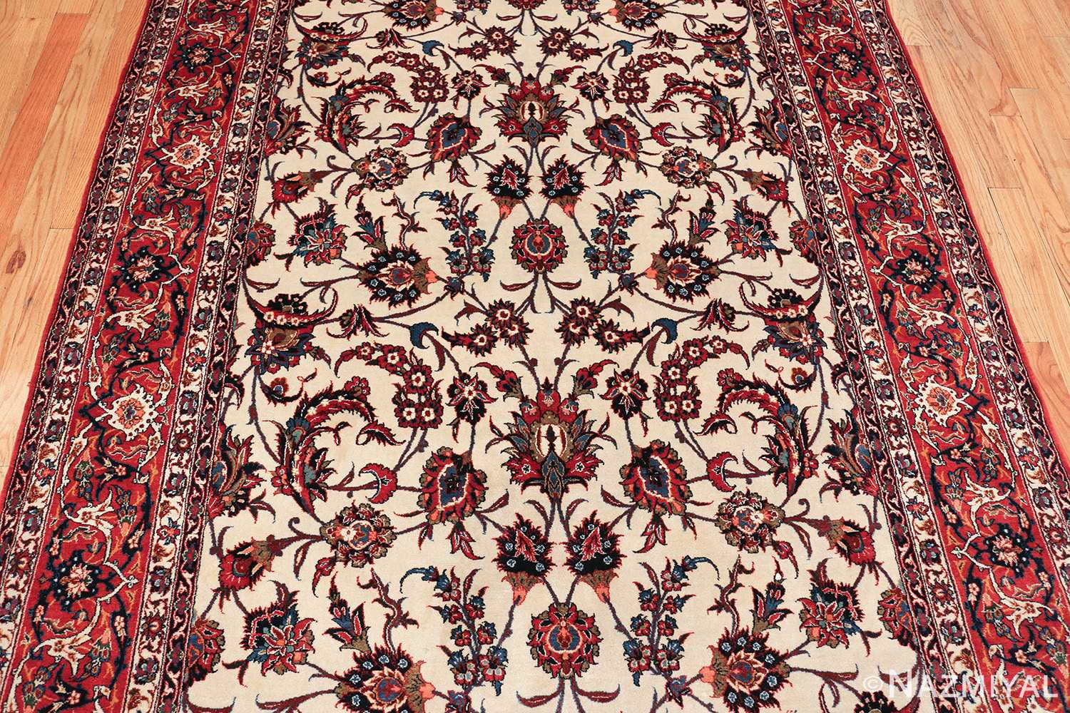 antique wide hallway gallery size persian isfahan rug 60045 middle Nazmiyal