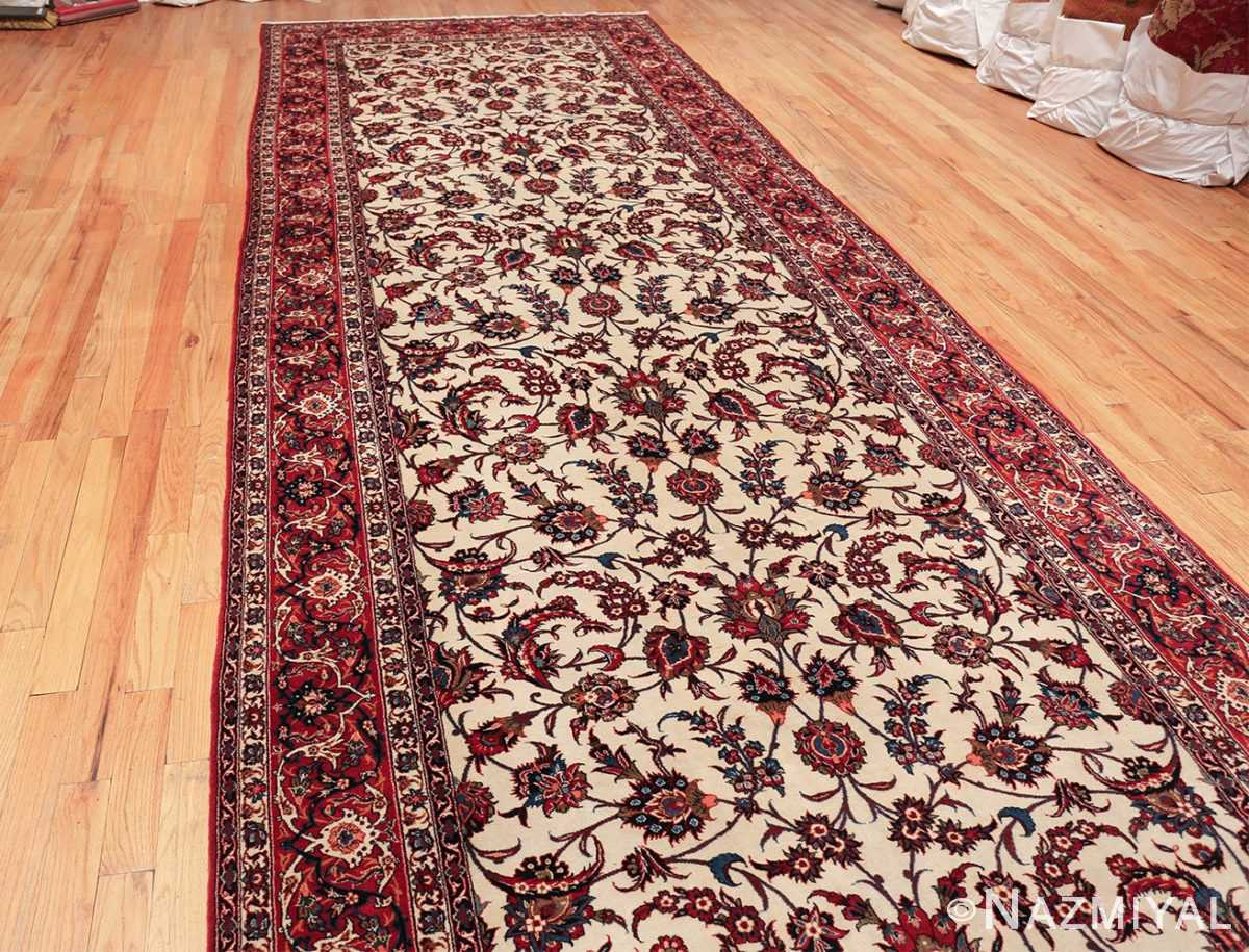 antique wide hallway gallery size persian isfahan rug 60045 knots Nazmiyal
