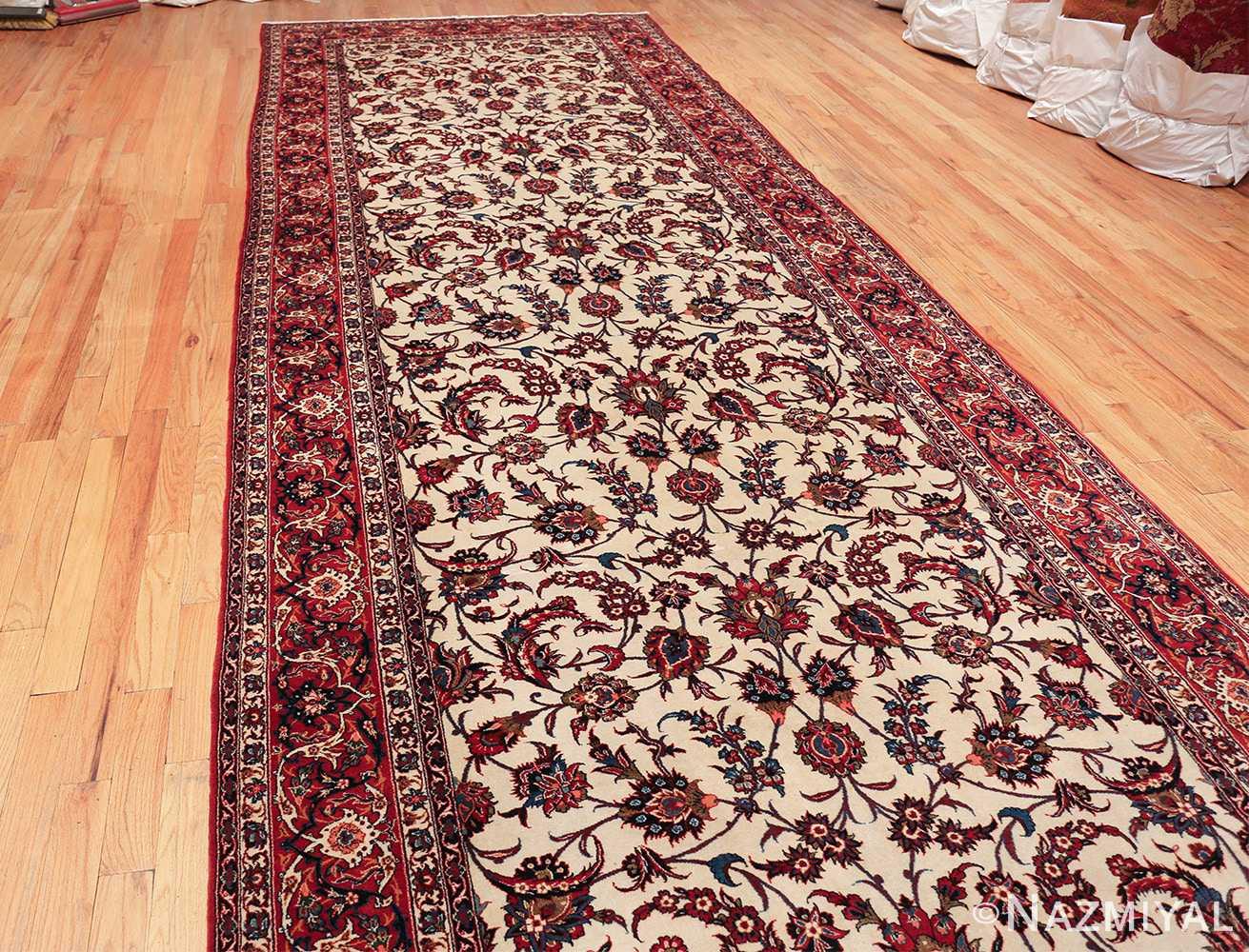 antique wide hallway gallery size persian isfahan rug 60045 knots Nazmiyal