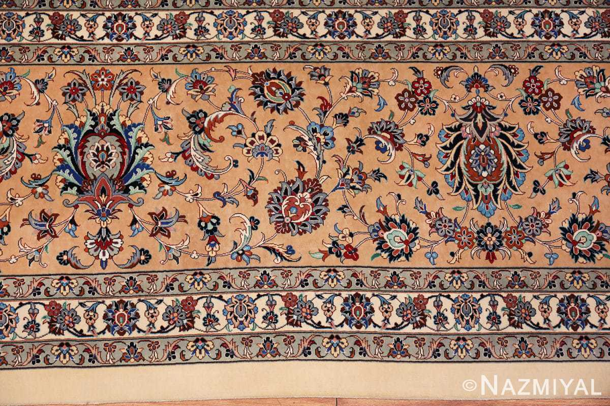 fine large vintage persian silk kashan rug 60039 border Nazmiyal