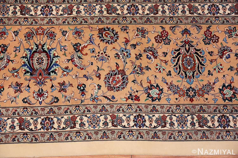 fine large vintage persian silk kashan rug 60039 border Nazmiyal
