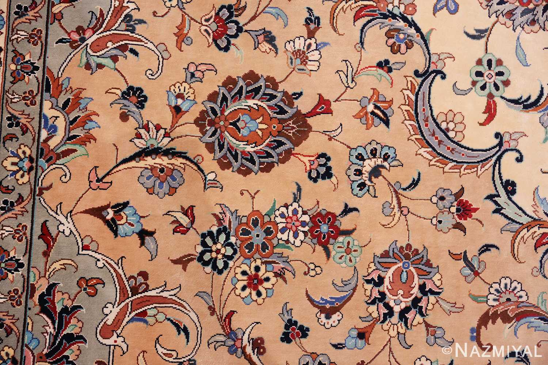 fine large vintage persian silk kashan rug 60039 cream Nazmiyal