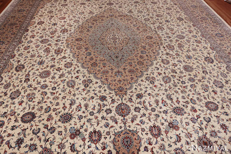 fine large vintage persian silk kashan rug 60039 field Nazmiyal