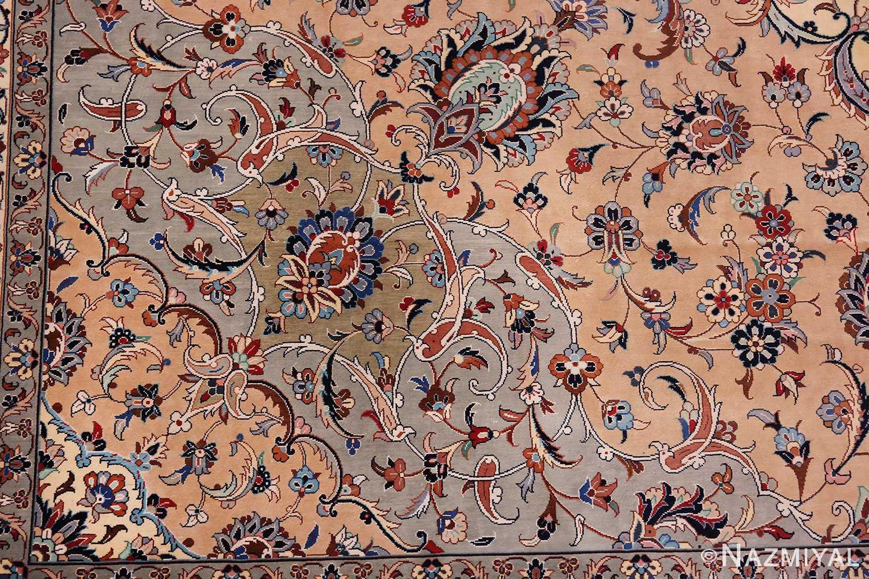 fine large vintage persian silk kashan rug 60039 green Nazmiyal