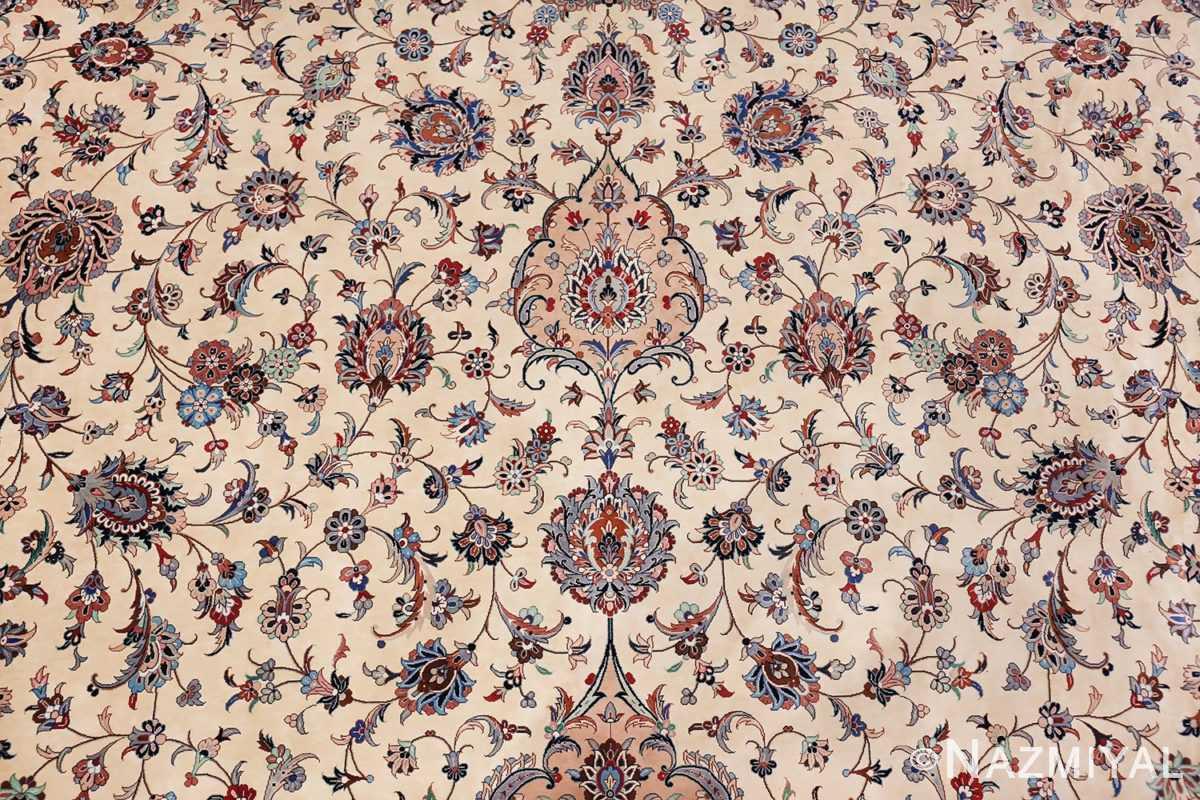 fine large vintage persian silk kashan rug 60039 ivory Nazmiyal