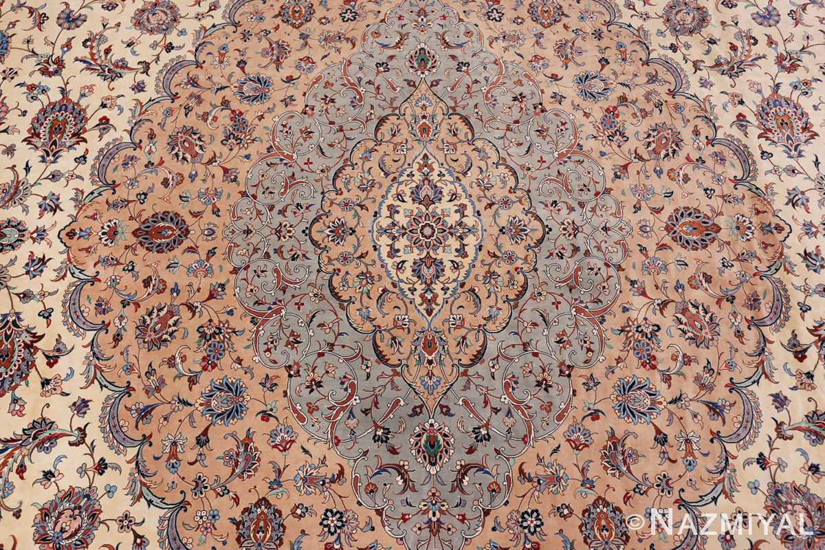 fine large vintage persian silk kashan rug 60039 medallion Nazmiyal