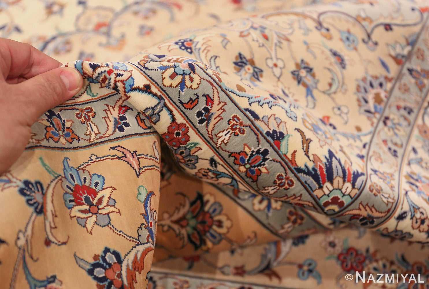 fine large vintage persian silk kashan rug 60039 pile Nazmiyal