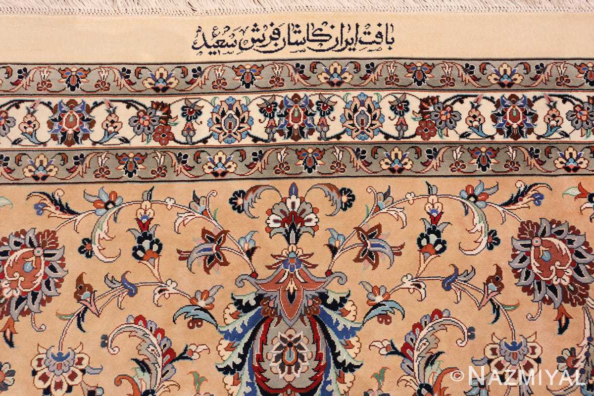 fine large vintage persian silk kashan rug 60039 signature Nazmiyal