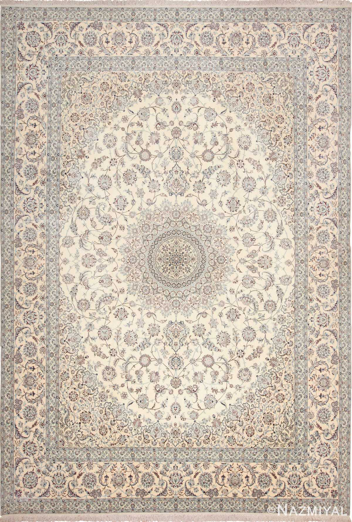 Large Silk And Wool Vintage Persian Nain Rug 60030