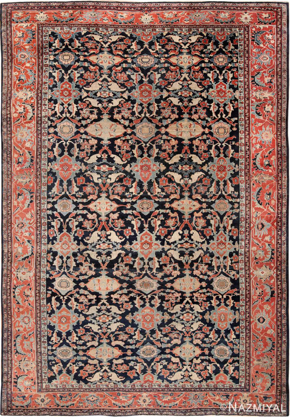 Large Navy Blue Antique Persian Sultanabad Rug 49678 by Nazmiyal