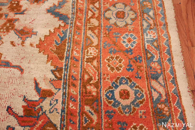 large ivory arts and crafts design antique turkish oushak rug 49672 border Nazmiyal