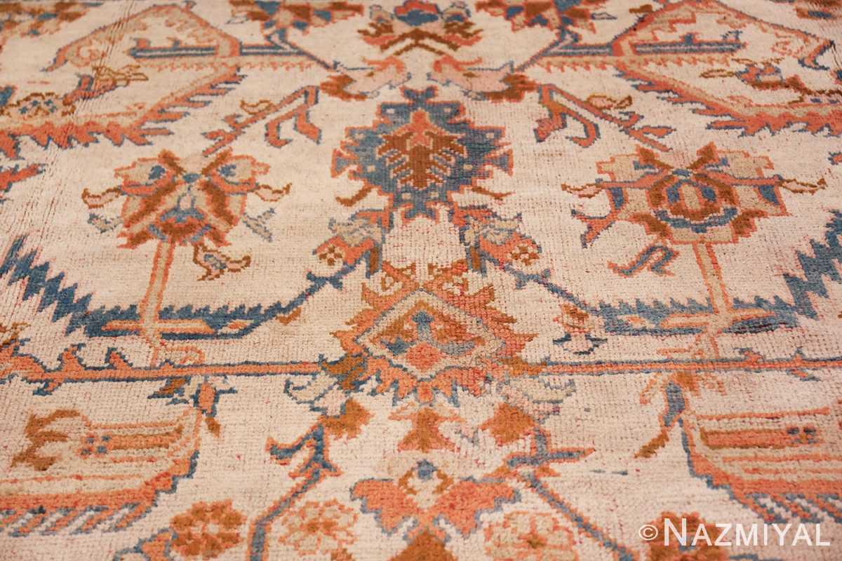 large ivory arts and crafts design antique turkish oushak rug 49672 bud Nazmiyal