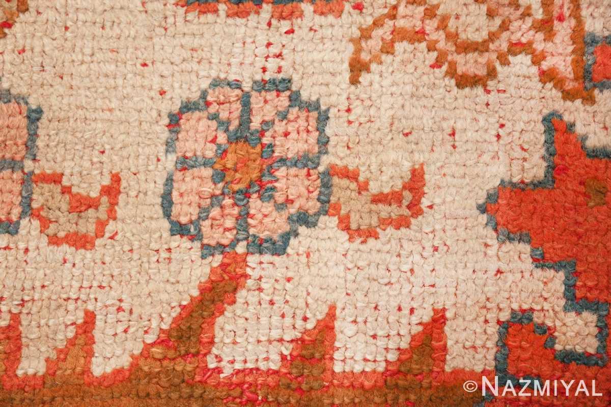 large ivory arts and crafts design antique turkish oushak rug 49672 closeup Nazmiyal