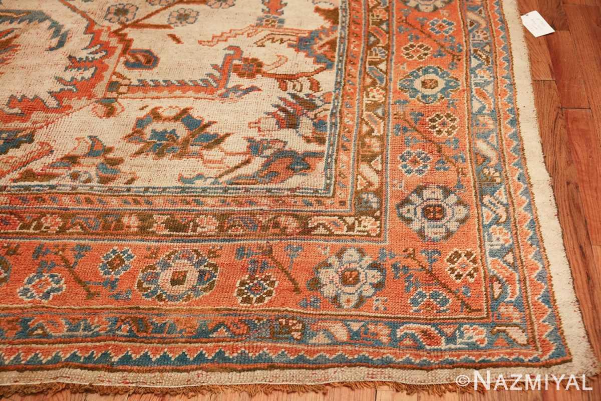 large ivory arts and crafts design antique turkish oushak rug 49672 corner Nazmiyal