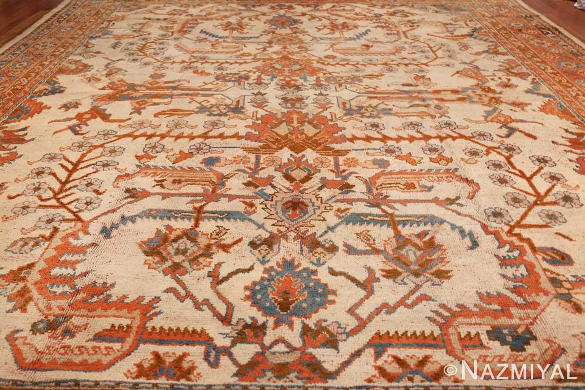 large ivory arts and crafts design antique turkish oushak rug 49672 field Nazmiyal