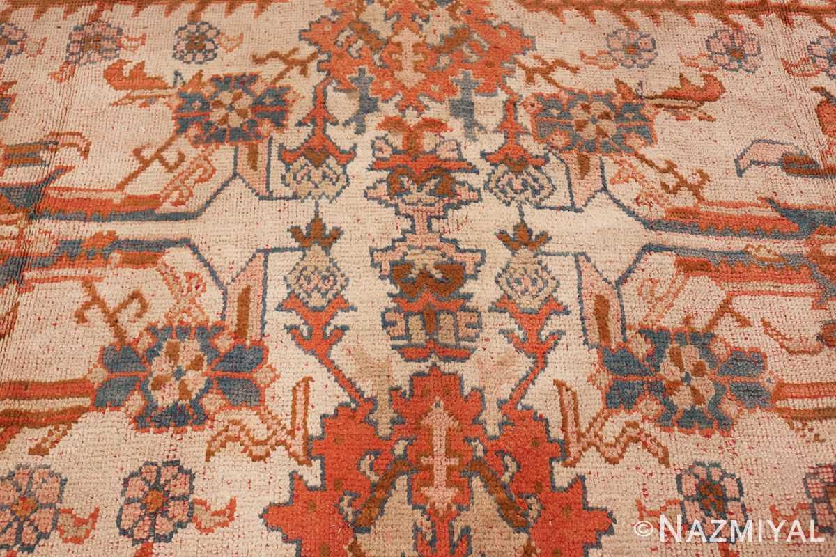 large ivory arts and crafts design antique turkish oushak rug 49672 lines Nazmiyal