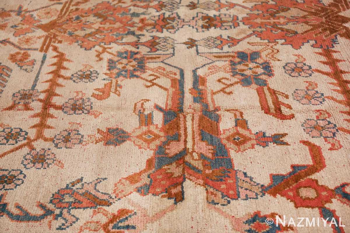large ivory arts and crafts design antique turkish oushak rug 49672 part Nazmiyal