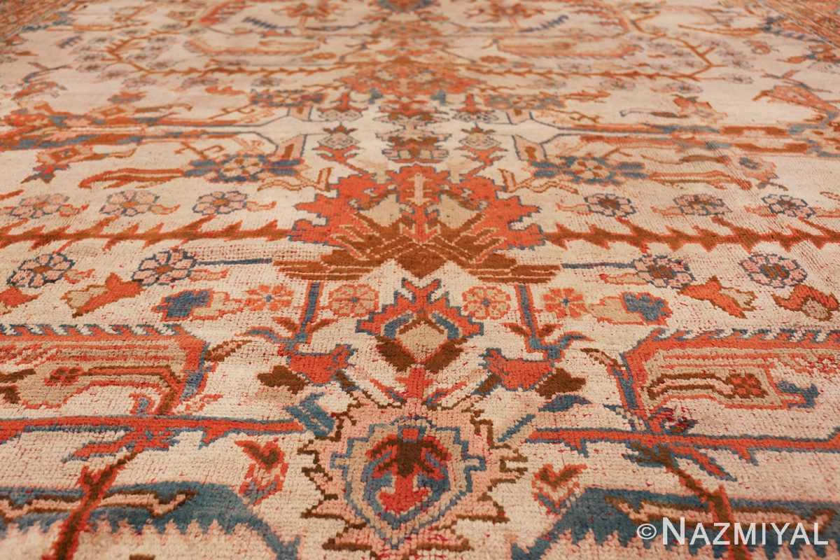 large ivory arts and crafts design antique turkish oushak rug 49672 row Nazmiyal