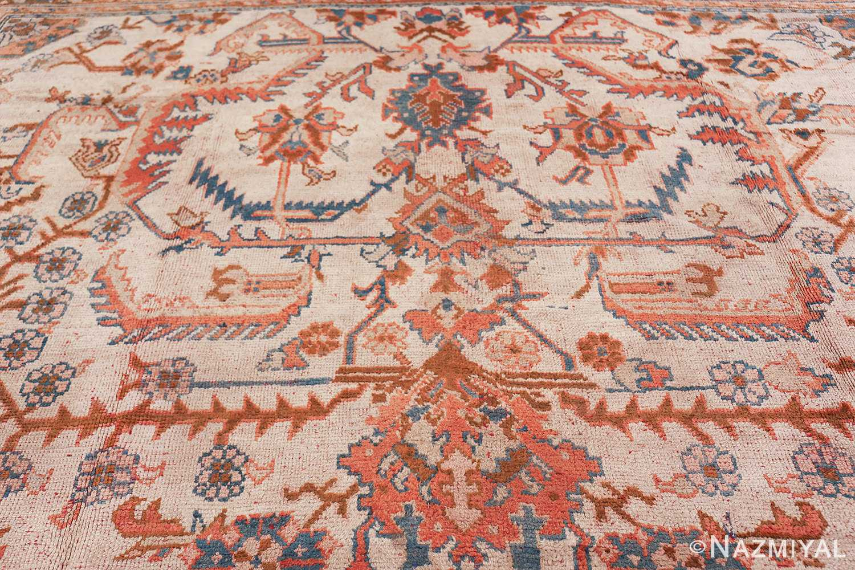 large ivory arts and crafts design antique turkish oushak rug 49672 top Nazmiyal