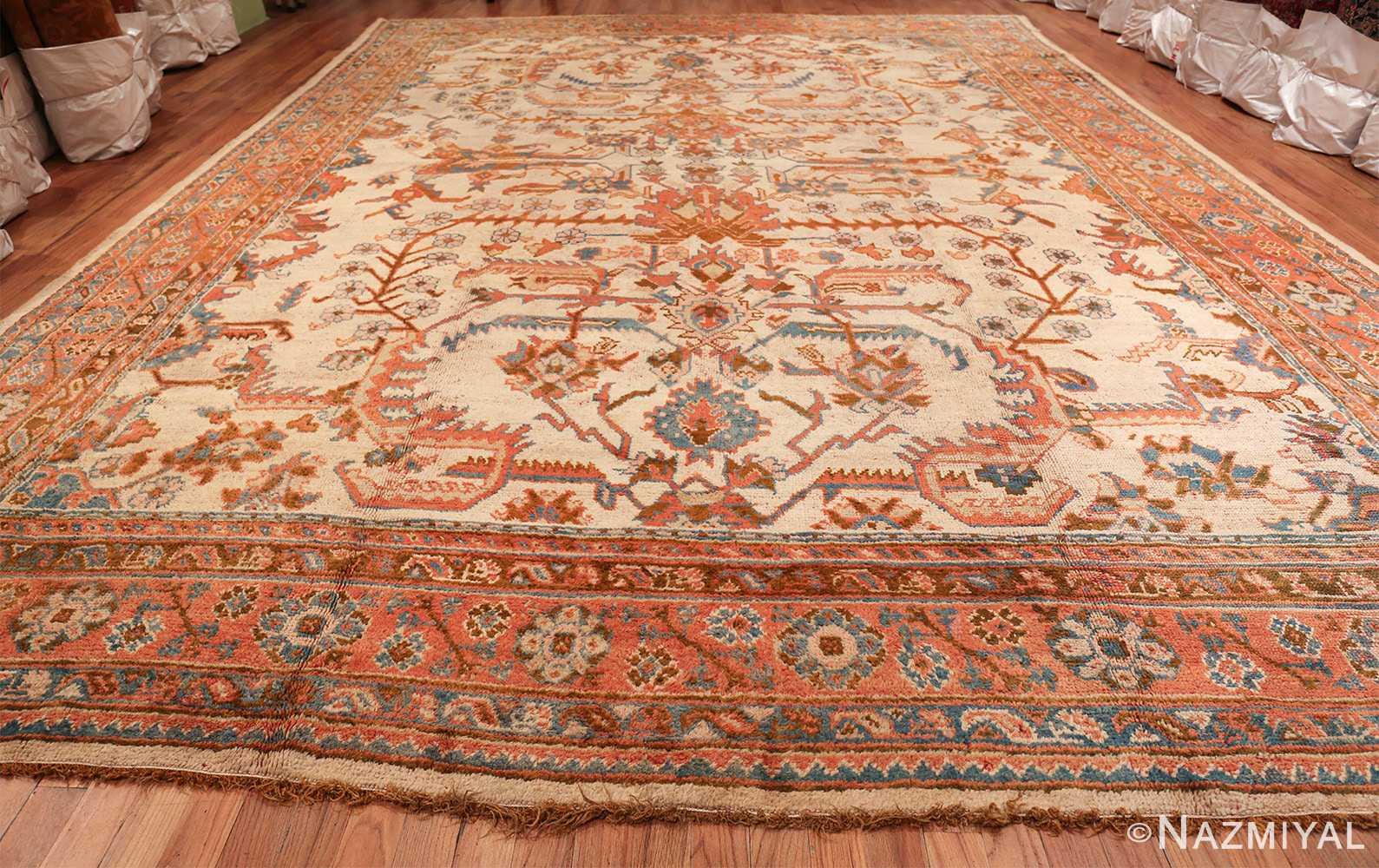 large ivory arts and crafts design antique turkish oushak rug 49672 whole Nazmiyal