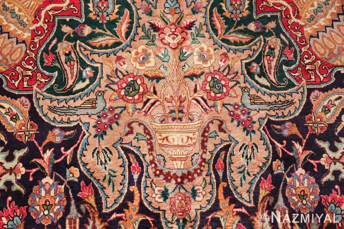 large jewel tone vintage persian tabriz rug 60041 basket Nazmiyal