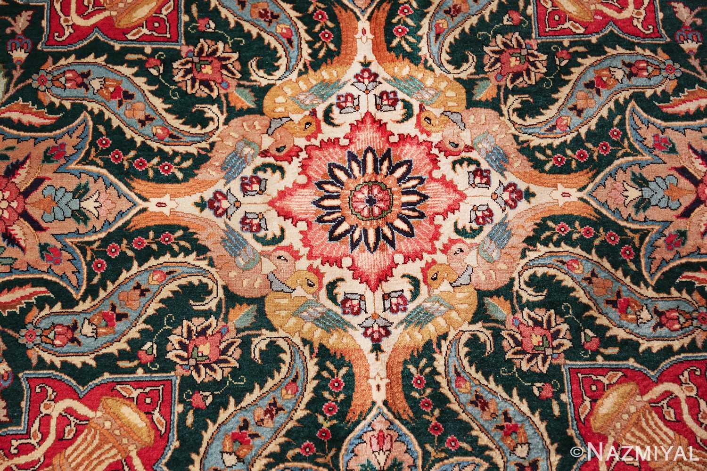 large jewel tone vintage persian tabriz rug 60041 bird Nazmiyal