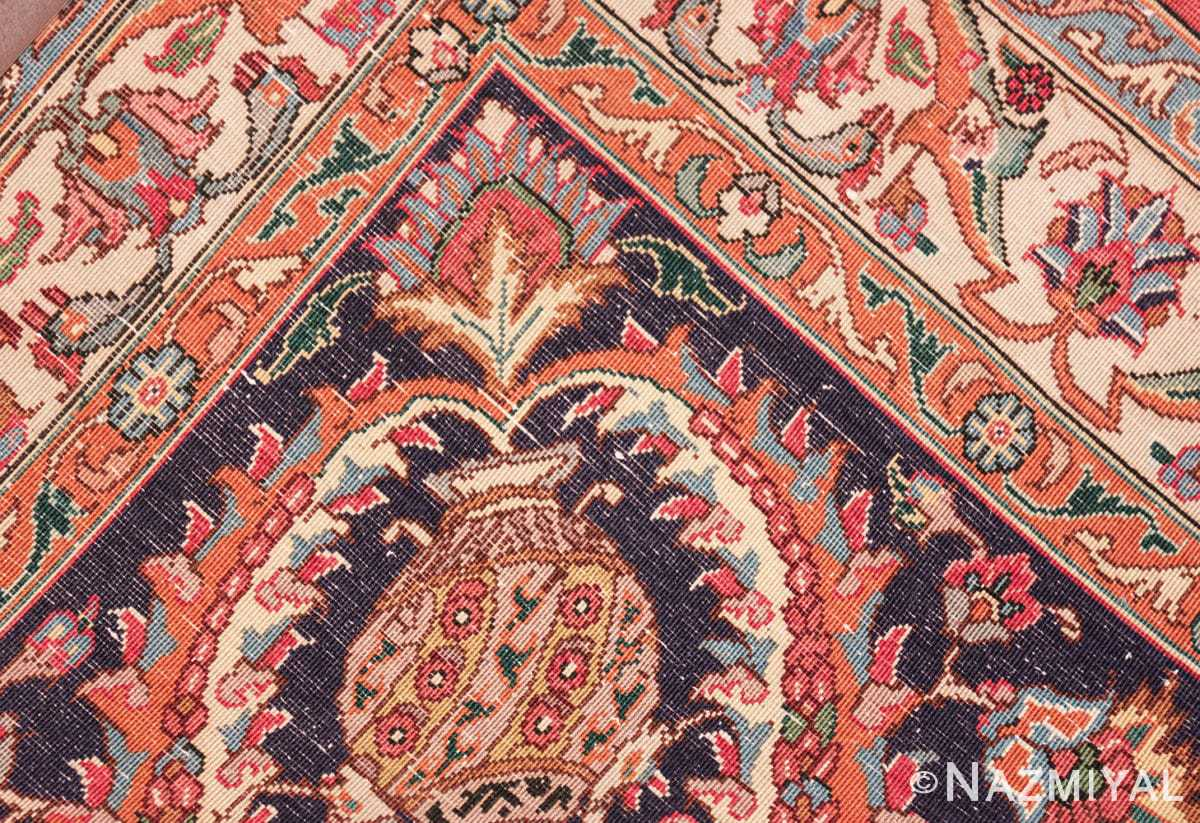 large jewel tone vintage persian tabriz rug 60041 knots Nazmiyal
