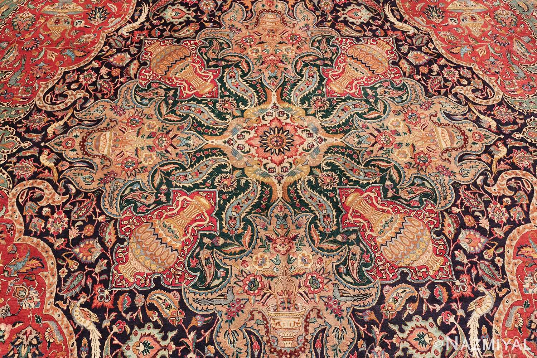 large jewel tone vintage persian tabriz rug 60041 medallion Nazmiyal