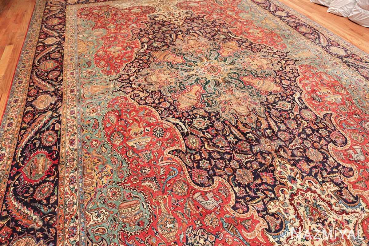 large jewel tone vintage persian tabriz rug 60041 whole Nazmiyal