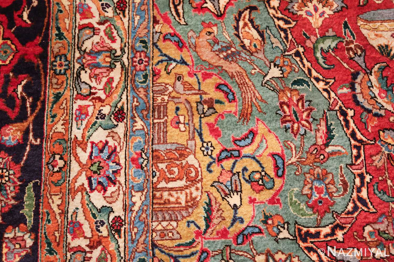 large jewel tone vintage persian tabriz rug 60041 woodpecker Nazmiyal