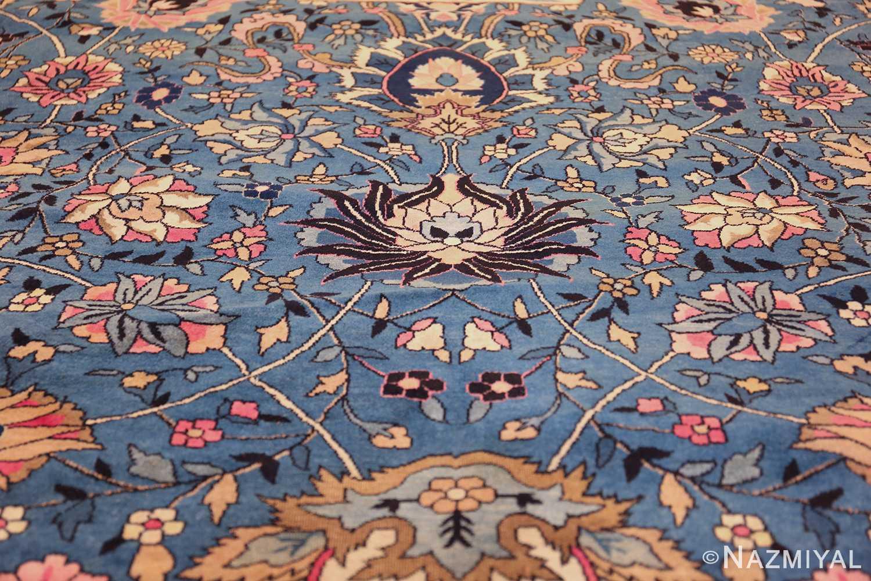 large light blue antique indian agra rug 49594 black Nazmiyal