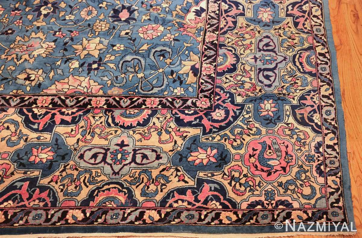 large light blue antique indian agra rug 49594 corner Nazmiyal