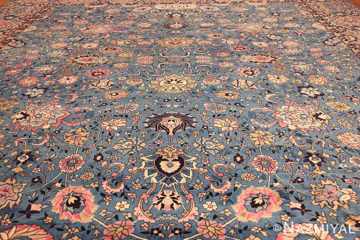 large light blue antique indian agra rug 49594 field Nazmiyal