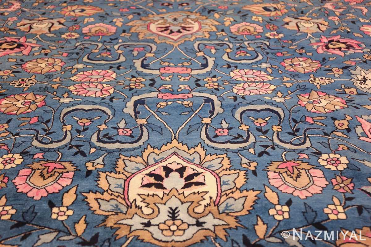 large light blue antique indian agra rug 49594 ivory Nazmiyal