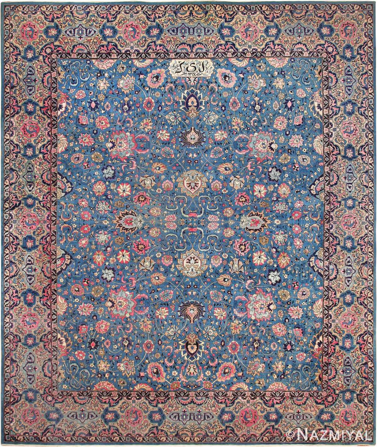 Large Light Blue Antique Indian Agra Rug 49594 by Nazmiyal