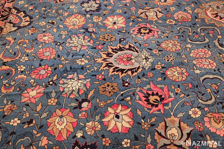 large light blue antique indian agra rug 49594 side Nazmiyal