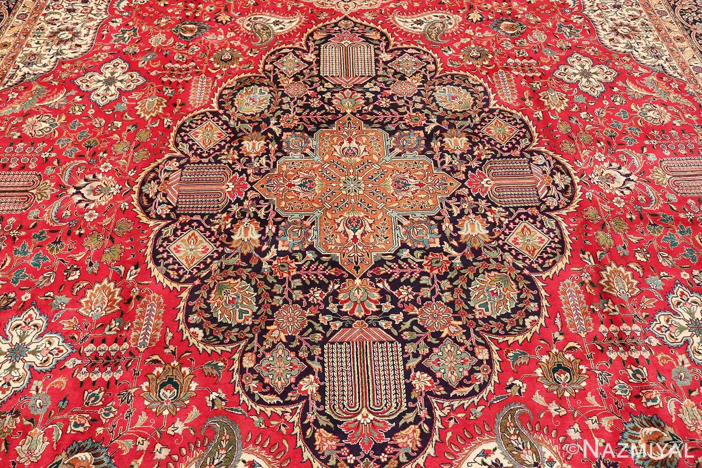 large red background vintage persian tabriz rug 60042 medallion Nazmiyal